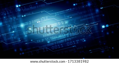 2d illustration abstract digital binary data on computer screen