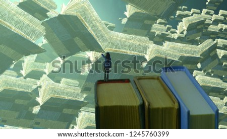 2d illustration. Abstract dreamlike motivational image. Illustration of person being in a dream in imaginary world. Education books. School and learning. #1245760399