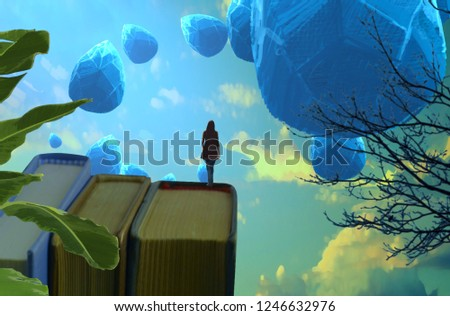 2d illustration. Abstract dreamlike motivational image. Illustration of person being in a dream in imaginary world. Crystal