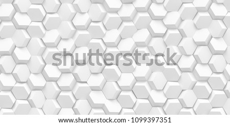 3d illustration. Abstract hexagonal background with the effect of depth of field. A large number of white hexagons. Cellular, white 3d panel. Render.3d wall texture, hexagonal clusters