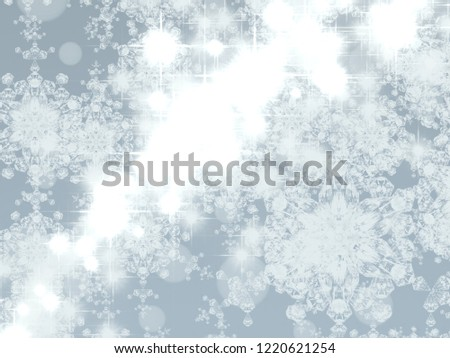 2d illustration. Abstract snowflakes. Christmas time decorative texture. Colorful background. Decorative paper card image. #1220621254