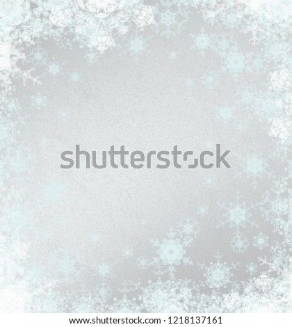 2d illustration. Abstract snowflakes on colorful background. Christmas time decorative texture.