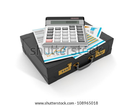 3d illustration: Accounting and data analysis. The portfolio of documents and a calculator - stock photo