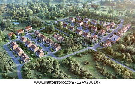 3D illustration aerial amazing gorgeous view over Europe suburb housing community; 3d rendering of a fragment of the city from a bird's eye view  ; 300 dpi