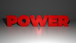 3d illustration and 3d rendering of the red power sign on the glossy floor