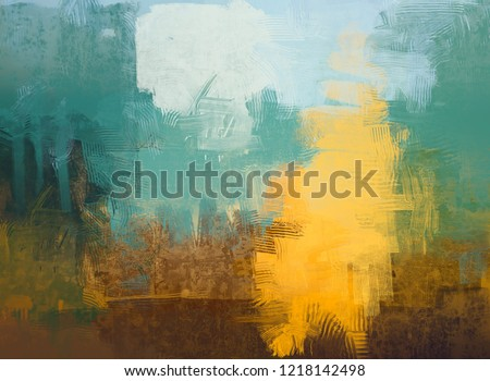 2d illustration. Artistic background image. Abstract painting on canvas. Contemporary art. Hand made art. Colorful texture. Modern artwork. Brushstrokes. Painting with strokes of fat paint on surface