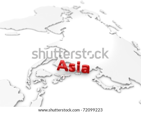3d illustration, Asia region map. on white.