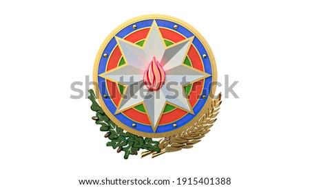 3d illustration Azerbaijan gerb emblem  4k Stockfoto ©