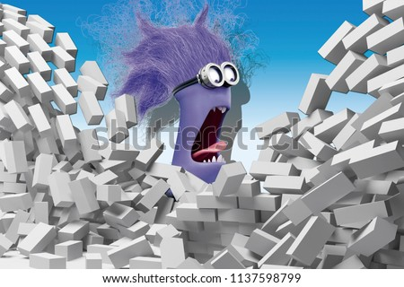 3D illustration, background, bricks, purple minion