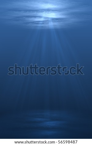 3D illustration background graphic of a blue underwater scene below the ocean sea.
