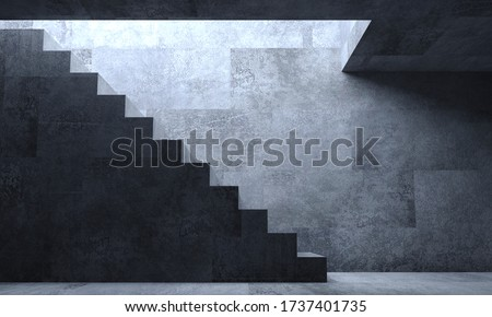 3d illustration. Background wallpaper concrete stairs concept. Inner hopper or tunnel. Industrial construction, metro or secret laboratory. stock photo