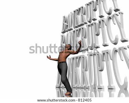 3D illustration, background, wallpaper depicting bankruptcy, surreal presentation of pain and failure.