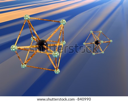 3D illustration, background, wallpaper of the micro cosmos, a molecule,  an iron atom, almost exact replica.   Quantum physics concept.