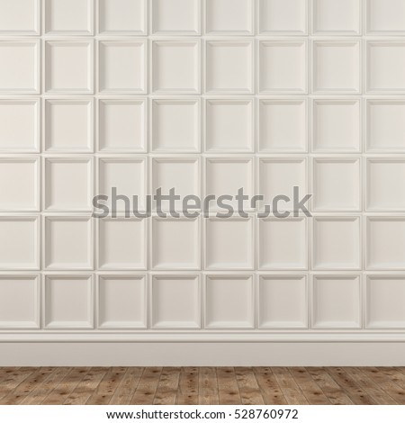 3d illustration. Background with decorative white wall and beige parquet