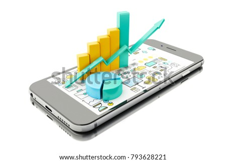 3d illustration. Bar graph and pie chart on Smartphone. Business statistic concept. Isolated white background