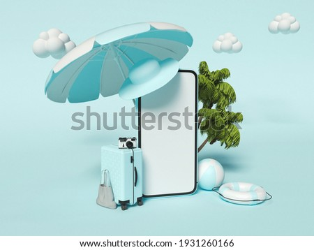 3d illustration. Beach umbrella, Travel suitcase, beach ball, palms and Smartphone. Travel and Summer vacation concept.