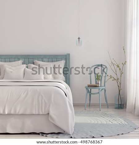 Shutterstock 3D illustration. Bedroom in light blue and beige shades