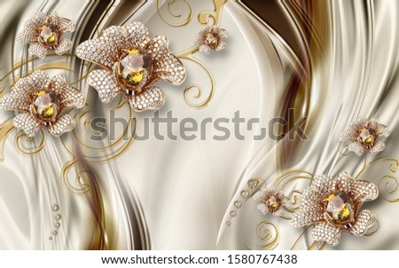 3d illustration, beige silk background, large gold ornamental flowers with crystals