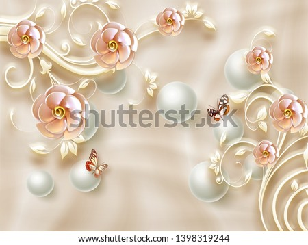3d illustration, beige silk background, large pink ornamental flowers, white pearls, two butterflies