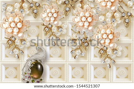 3d illustration, beige tiled background, abstract pearl golden flowers with crystals, silver peacock sits on a dark stone