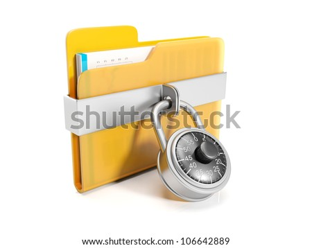 3d illustration: Big yellow folder with a combination lock mounted