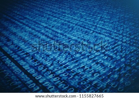 3D illustration binary code on blue background. Bytes of binary code. Concept technology. Digital binary background.