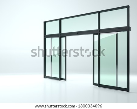 3d illustration. Black double automatic glass door in the shop or windows. Background for banner. Advertising. Modern construction technologies Сток-фото ©