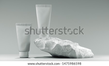 3d illustration. Blank white tube design on a stone mockup front back profile side view set. Clear cream packaging stand. Lotion skin care package template. Scincare cosmetic concept.