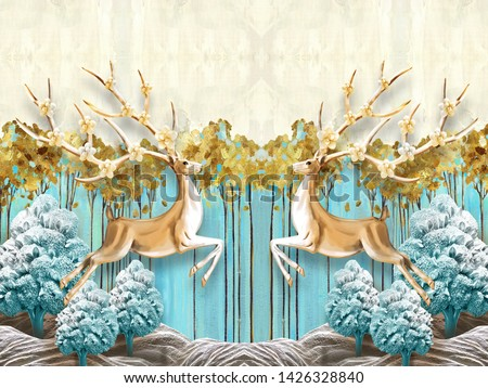 3d illustration, blue and beige background, blue fabulous trees and tall thin trees with yellow leaves, two mirrored deer with blooming horns