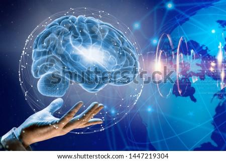 3d illustration. Brain. Human life.  Innovations. Information.