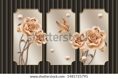 3d illustration, brown background with vertical lines, three vintage frames, pearls, roses, butterfly
