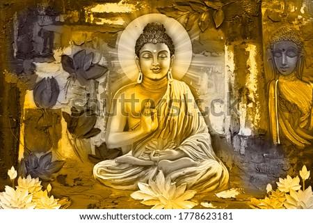 3D  illustration , buddha painting with flowers wallpaper, buddha wallpaper