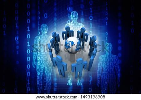 3d illustration Business Network concept