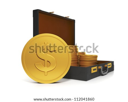 3d Illustration: Business technology. Group and a bag of gold coins