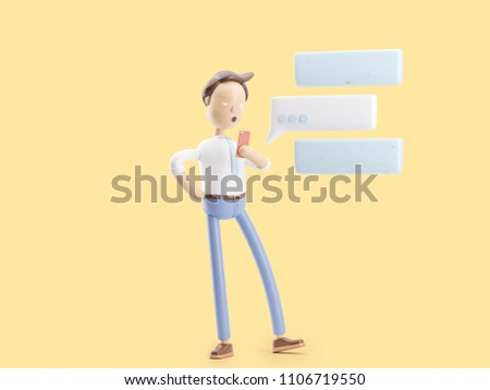 3d illustration. Businessman Jimmy send message from phone