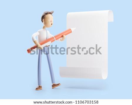 3d illustration. Businessman Jimmy signs paper. Agreement