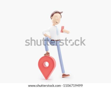 3d illustration. Businessman Jimmy use Gps navigation