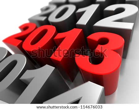 3d illustration, calendar symbol with number 2012,2013, 2014