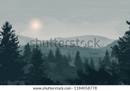 2d illustration. Canadian Wilderness mountains. Digital art. Handmade digital painting. Foggy landscape.