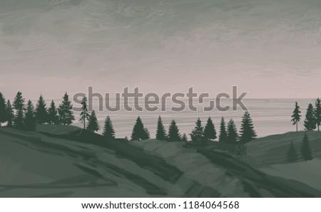 2d illustration. Canadian Wilderness mountains. Digital art. Handmade digital painting. Foggy landscape.