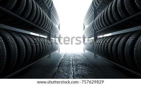 3D illustration, car tires rack in workshop background, back lit