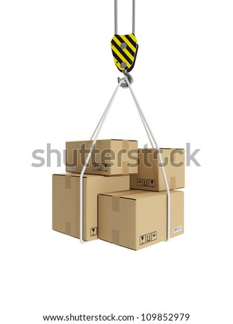 3d illustration: Cargo transportation, crane hook, and cardboard boxes - stock photo