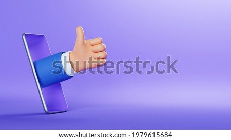 3d illustration. Cartoon character businessman hand shows like gesture, thumbs up, sticking out the smart phone screen. Business clip art isolated on violet background. Approval concept Photo stock ©