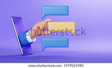 3d illustration. Cartoon character businessman hand with blank chat balloons, sticking out the smart phone screen. Online social media clip art isolated on violet background. Communication concept