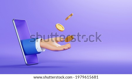 3d illustration. Cartoon character hand sticking out the smart phone screen, throws up golden coins to the air. Online business profit clip art isolated on violet background. Financial application Stock photo ©