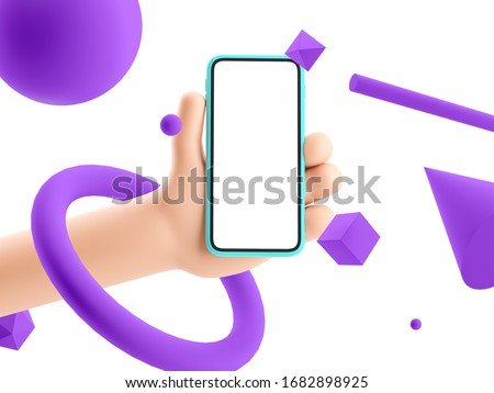 3d illustration. Cartoon hand holding phone on abstract bright background. Cartoon device Mockup with 3d shapes.