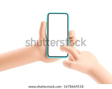 3d illustration. Cartoon hand holding phone on white background. Cartoon device Mockup.