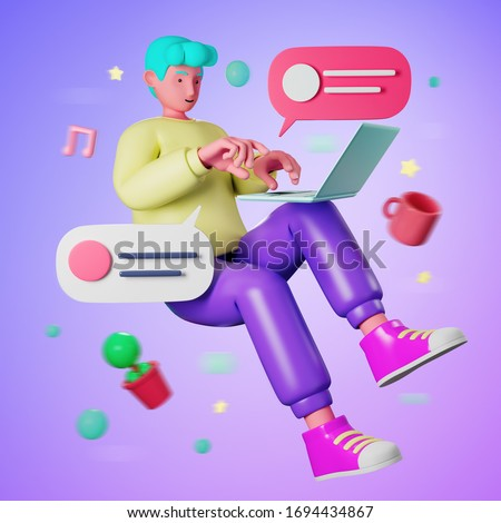 3d illustration cartoon young casual man floating and using computer laptop for working from home or online education learning while quarantine from virus outbreak covid-19.