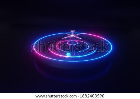3d illustration casino roulette wheel. Neon background. Photo stock ©