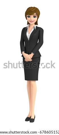 3D illustration character - A business woman guides you